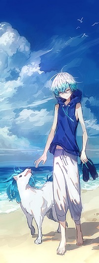 Аватар вконтакте Мальчик со своим животным идет по побережью
