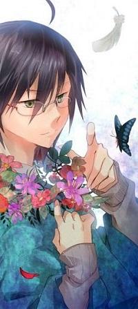 Аватар вконтакте Нодзому Итосики / Nozomu Itoshiki из аниме Прощай, унылый учитель / Sayonara Zetsubou Sensei с цветочным венком на шее, подставляет палец бабочке