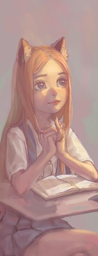 Аватар вконтакте Рыжеволосая девушка с ушками, by Mireys