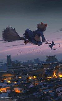 Аватар вконтакте Ведьма Кики со своим котом Дзи-дзи на метле летят над городом, из аниме Ведьмина служба доставки / Kiki's Delivery Service