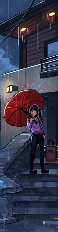 Аватар вконтакте Девушка в наушниках с красным зонтом в руке стоит на ступеньках, by Klegs