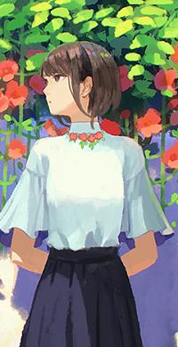 Аватар вконтакте Девочка стоит перед цветами
