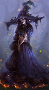 Аватар вконтакте Ведьма в шляпе стоит на горящей земле