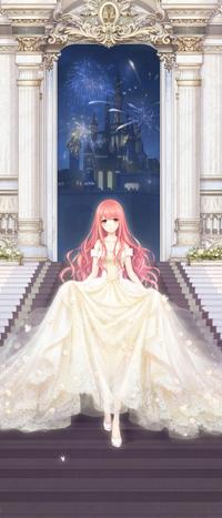 Аватар вконтакте Девушка в длинном, белом платье спускается по лестнице