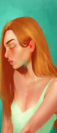 Аватар вконтакте Рыжеволосая девушка с закрытыми глазами, by MaromiSagi