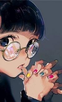 Аватар вконтакте Девочка в очках держит руки с разноцветным маникюром перед лицом