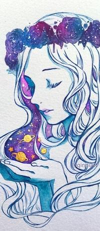 Аватар вконтакте Девушка в венке с планетами над руками