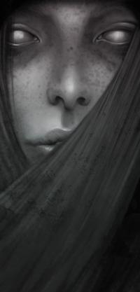 Аватар вконтакте Черно-белый портрет девушки с веснушками, by enmi