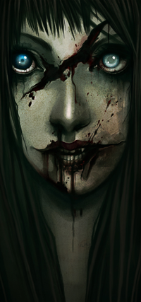 Аватар вконтакте Голубоглазая девушка с кровью на губах, by enmi