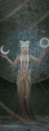 Аватар вконтакте Полуобнаженная девушка с месяцем и луной над руками