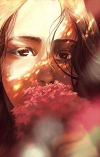 Аватар вконтакте Девушка с цветком перед лицом, by Mikkapi