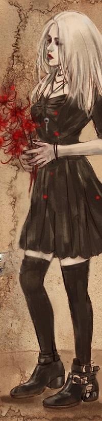 Аватар вконтакте Девушка в черном платье с ключом, подвешенным на шее, в черных чулках, ботинках, с красными цветами в руках, by nanfe