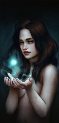 Аватар вконтакте Полуобнаженная девушка держит в руках голубой шар, by fdasuarez
