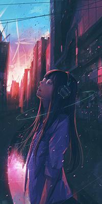 Аватар вконтакте Девушка на улице в наушниках, автор Wataboku