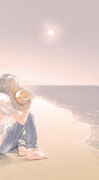Аватар вконтакте Человек сидит на берегу моря, автор Re
