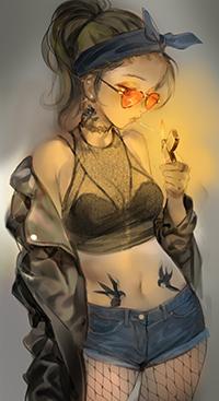 Аватар вконтакте Девушка с сигаретой, автор Yang-do