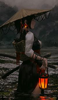Аватар вконтакте Вооруженная девушка с фонарем в руке, автор Guweiz