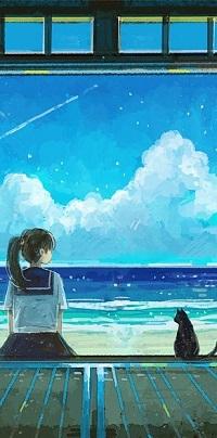 Аватар вконтакте Школьница и черный котенок сидят у моря