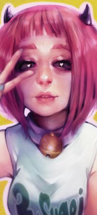 Аватар вконтакте Розоволосая девушка с рожками, by jcm2
