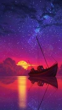 Аватар вконтакте Небольшой кораблик на воде на фоне заката, by AngelGanev