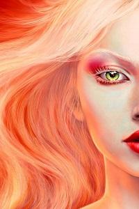 Аватар вконтакте Блондинка с красными тенями на веках и красными губами