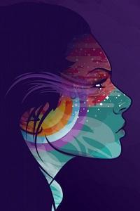 Аватар вконтакте Портрет девушки в профиль в фиолетовых тонах