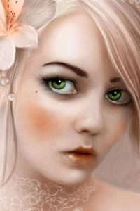 Аватар вконтакте Зеленоглазая блондинка с белым цветком в волосах