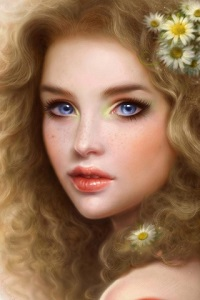 Аватар вконтакте Голубоглазая девушка с ромашками в волосах