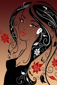 Аватар вконтакте Изображение девушки с красными цветами в волосах
