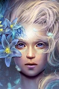 Аватар вконтакте Голубоглазая девушка с голубыми цветами в волосах