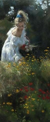 Аватар вконтакте Девушка в белом платье собирает полевые цветы, художник Vicente Romero Redondo / Висенте Ромеро Редондо