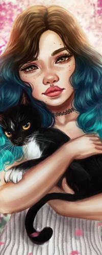 Аватар вконтакте Портрет темно-голубыми волосами с черной кошкой на руках, by Amourinette