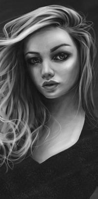 Аватар вконтакте Черно-белый портрет девушки, by Dzydar