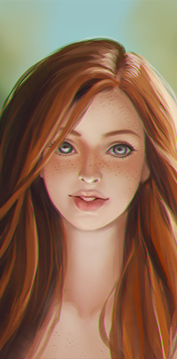 99px.ru аватар Рыжеволосая девушка с веснушками на размытом фоне, by TerinCat