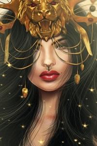 Аватар вконтакте Брюнетка с красными губами в золотой львиной маске