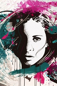 Аватар вконтакте Освещенное слева женское лицо расцвечено мазками краски