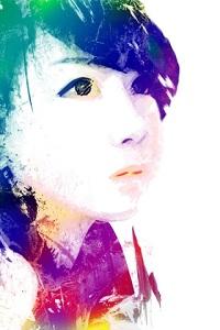 Аватар вконтакте Портрет девушки-азиатки из бликов краски