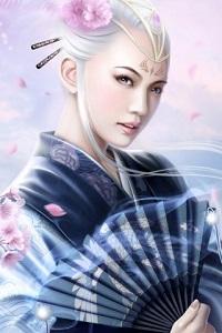 Аватар вконтакте Светловолосая гейша с веером