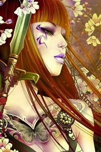 Аватар вконтакте Рыжеволосая девушка с мечом в руке