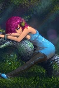 Аватар вконтакте Девушка в голубом платье и наушниках с цветами