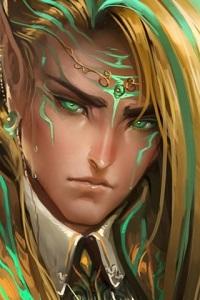 Аватар вконтакте Зеленоглазый парень-эльф с зелеными бликами на лице и волосах