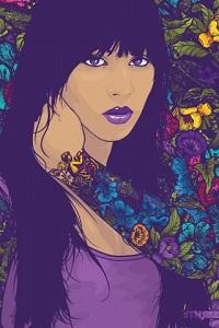 Аватар вконтакте Девушка с фиолетовыми глазами с татуировкой в цвет фона