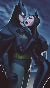 Аватар вконтакте Catwoman / Женщина-кошка обнимает Batman / Бэтмена, by Leandro Franci