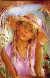 Аватар вконтакте Девушка с косичками и в шляпе на фоне летнего пейзажа, by Maksai Jаnos