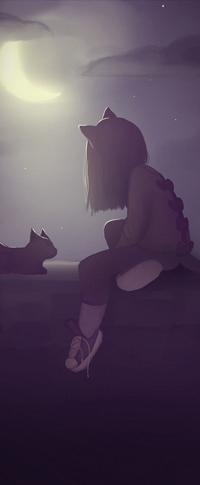 Аватар вконтакте Нэко-девочка с кошкой сидят на фоне ночного неба в свете полумесяца, by boooi