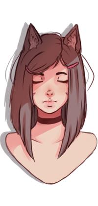 Аватар вконтакте Девушка-нэко с закрытыми глазами, by WhiteBabyFox