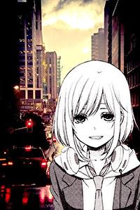 Аватар вконтакте Улыбающаяся Мацури Мизусава / Matsuri Mizusawa, вырезанная из манги Цитрус / Citrus, на фоне вечернего города
