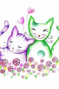 Аватар вконтакте Кот и кошечка обнимаются в цветах