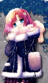 99px.ru аватар Девушка с заколкой-зайкой стоит под снегом