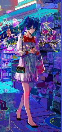 Аватар вконтакте Vocaloid Hatsune Miku / Вокалоид Хацунэ Мику / Хатсуне Мику с сумочкой среди витрин